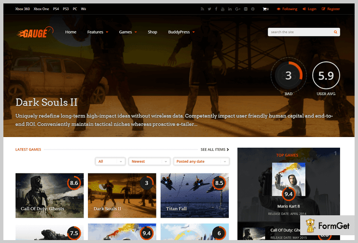 Gauge Rating WordPress Theme