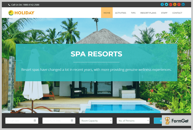 summer resort Booking WordPress Theme