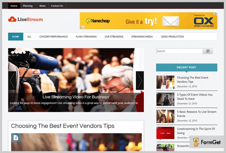 Live Stream Tutorial WordPress Theme