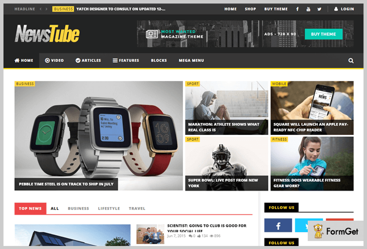 NewsTube Youtube WordPress Themes