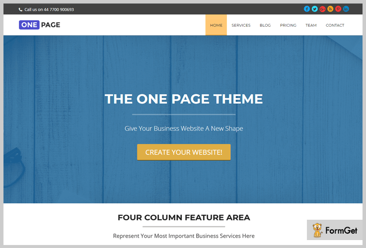 One Page Open Source WordPress Theme