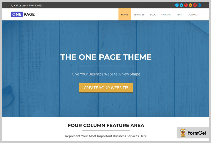 One page Portfolio WordPress Themes