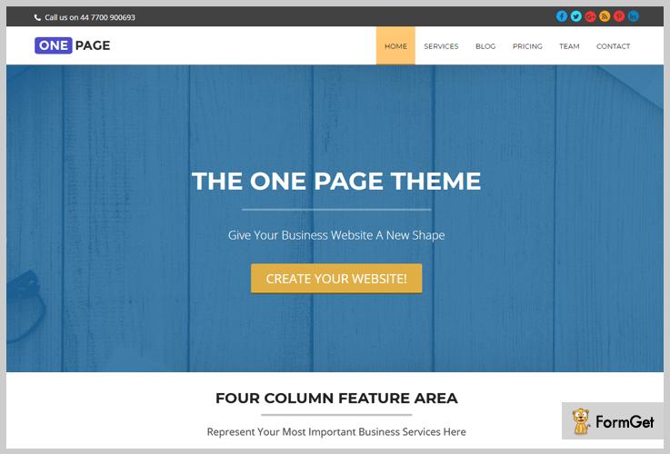 OnePage Beginner WordPress Theme