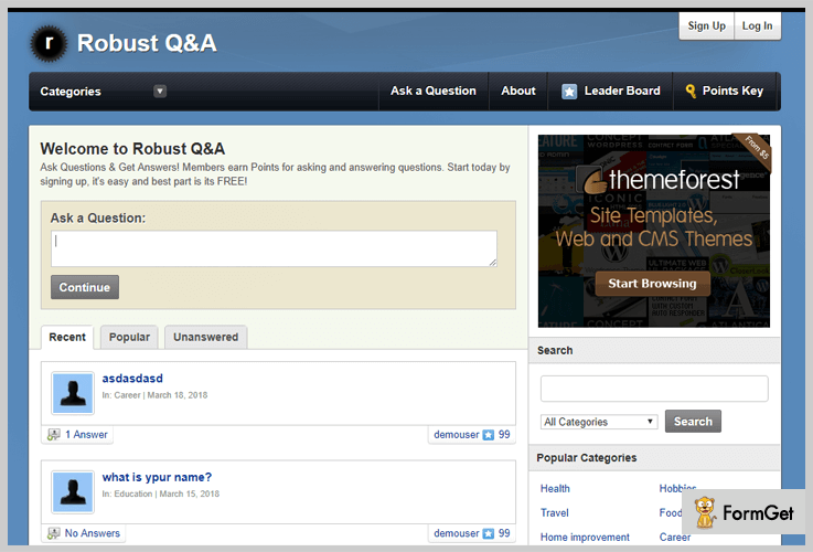 robustQ&A wordpress theme for question answers