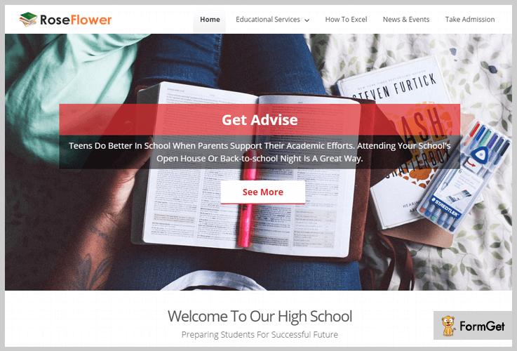 Rose Flower School WordPress Theme