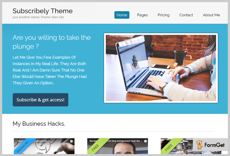 Subscribely Videographer WordPress Theme