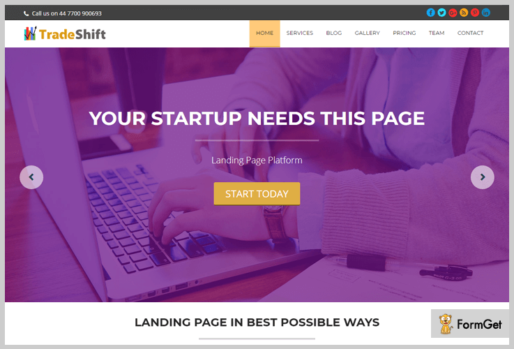 TradeShift WordPress themes for startups