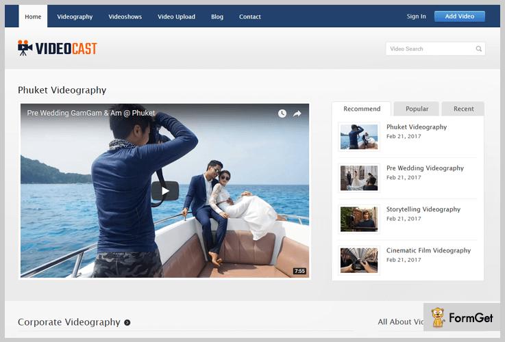 VideoCast Videographer WordPress Theme