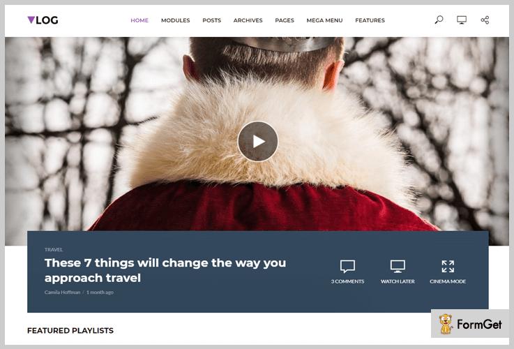 Vlog Video Header WordPress Themes