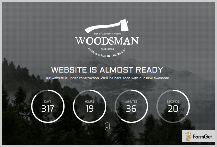 WoodsmanComing Soon WordPress Theme