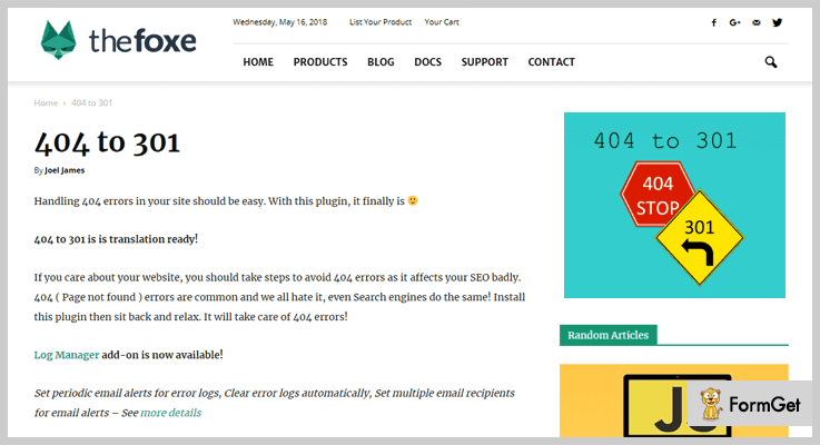 The Foxe - 404-to-301-404 Redirect WordPress Plugin
