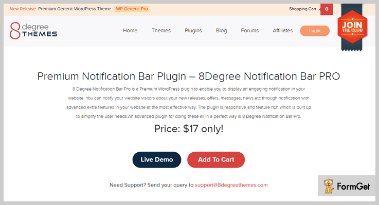 8 Degree Notification Bar Notification WordPress Plugin