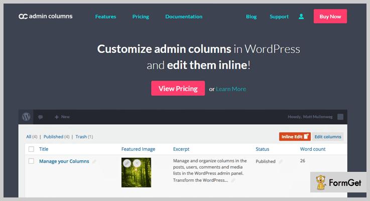 Admin Columns WordPress Admin Plugin