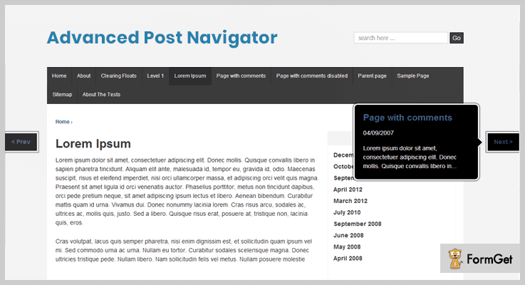 Advanced Post Navigator WordPress Plugins Next Previous Page