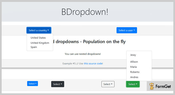BDropdown jQuery Dropdown Plugins