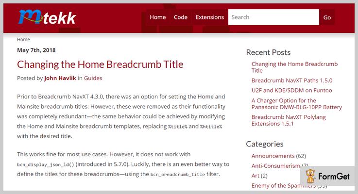 Breadcrumb NavXT Breadcrumbs WordPress Plugin