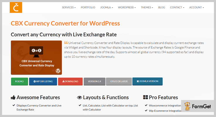 CBX Currency Converter WordPress Plugins