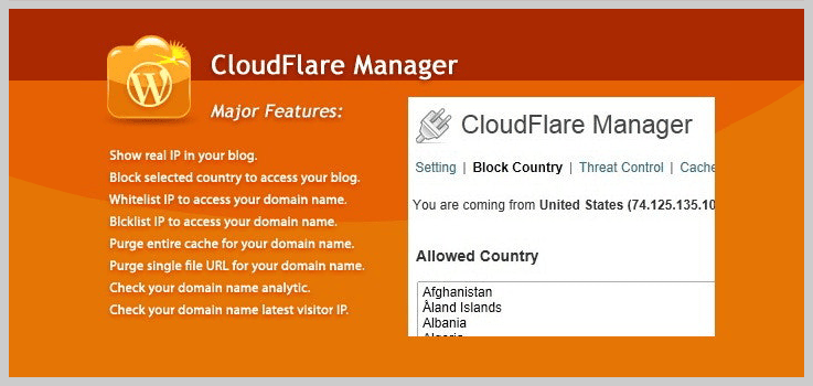 CloudFlare Manager - Best WordPress plugin to block countries