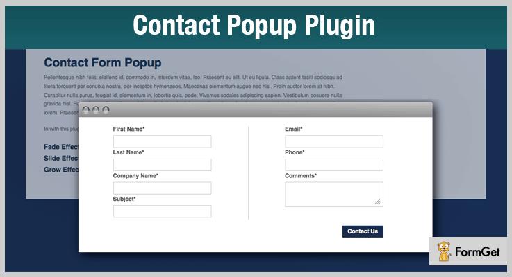 Contact Popup jQuery Form Plugin
