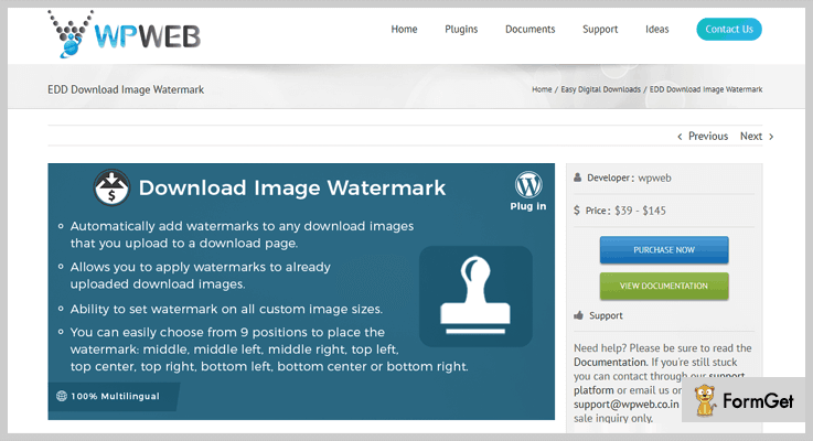 Easy Digital Downloads Watermark WordPress Plugin