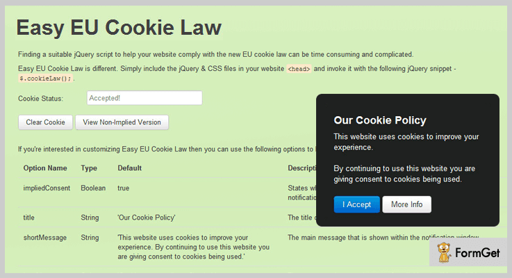 Easy EU Cookie Law jQuery Cookies Plugin
