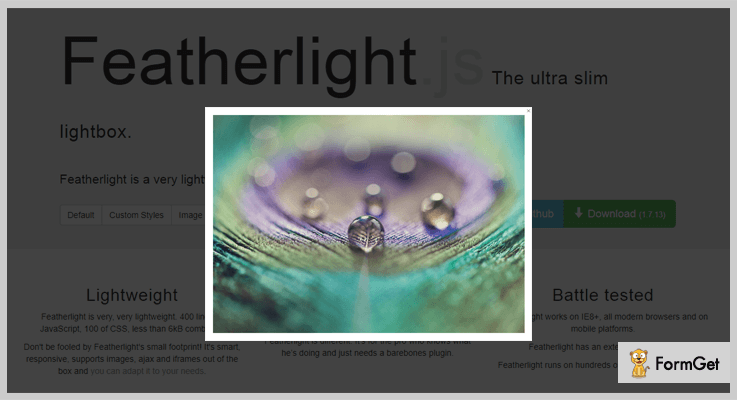 Featherlight jQuery Lightbox Plugins