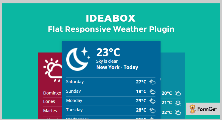 Flat Responsive jQuery Weather Plugins