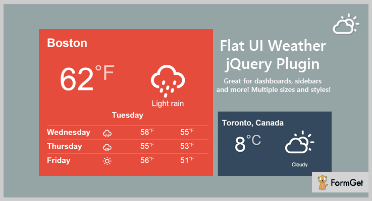 Flat Weather jQuery Weather Plugins