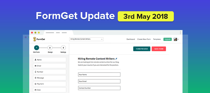 FormGet Update – 3rd May 2018