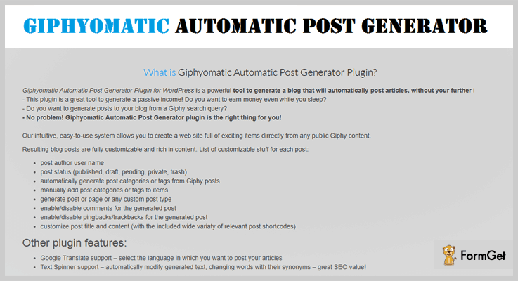 Giphyomatic Automatic Post Generator GIF WordPress Plugins