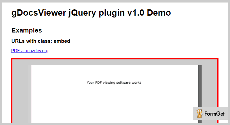 Google Doc PDF Viewer jQuery Plugin