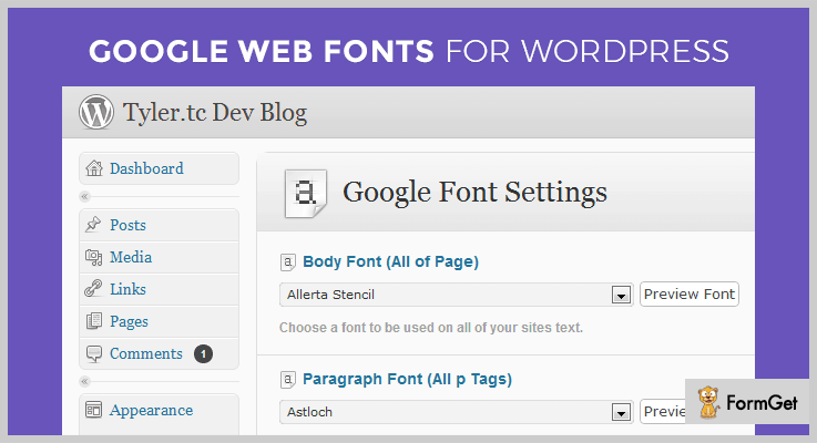 Google Web WordPress Font Plugin