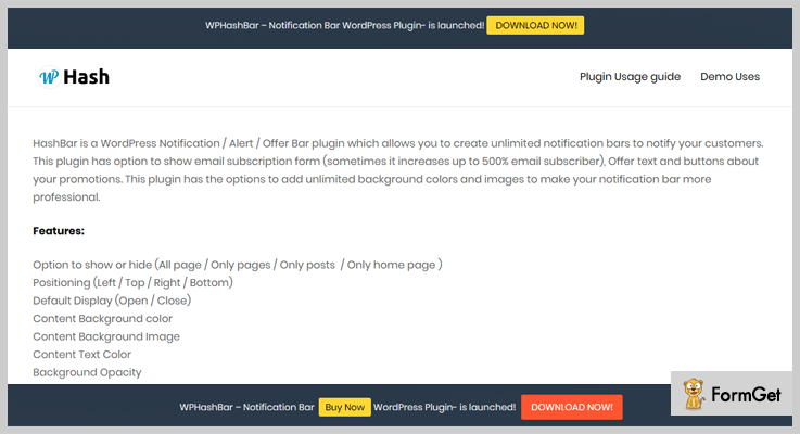 HashBar Notification WordPress Plugin