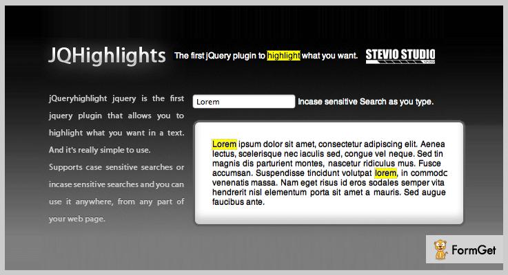 JQuery Highlights jQuery Highlight Plugins