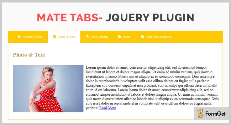 Mate Tabs- jQuery Plugin jQuery Tabs Plugins