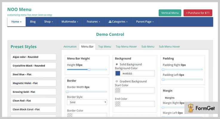 NOO Menu Navigation Bar WordPress Plugin