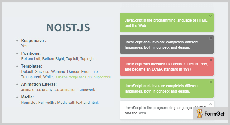 Noist.js jQuery Notification Plugins