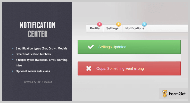Notification Center jQuery Notification Plugins