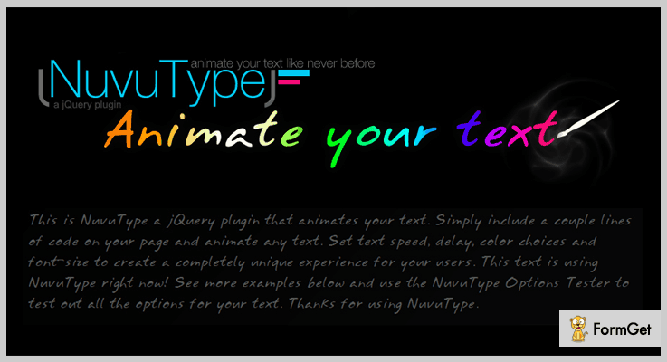 NuvuType jQuery Text Animation Plugin
