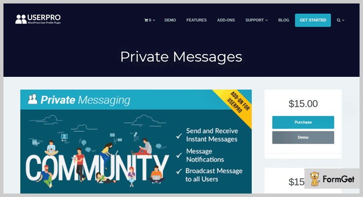 Private Messages for UserPro Private Message WordPress Plugins
