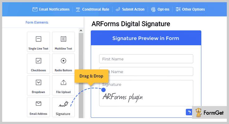 Signature Add on WordPress E-Signature Plugins
