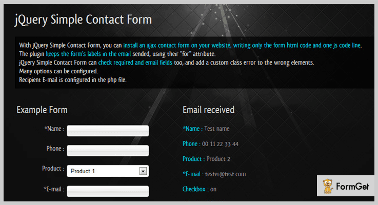 Simple Contact jQuery Form Plugin
