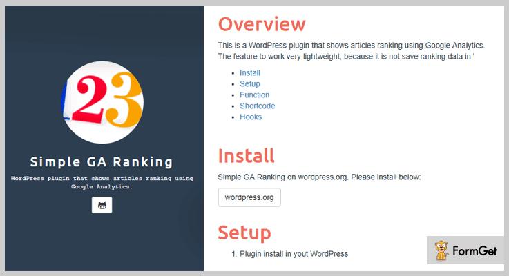 Simple GA Rank Tracker WordPress Plugins