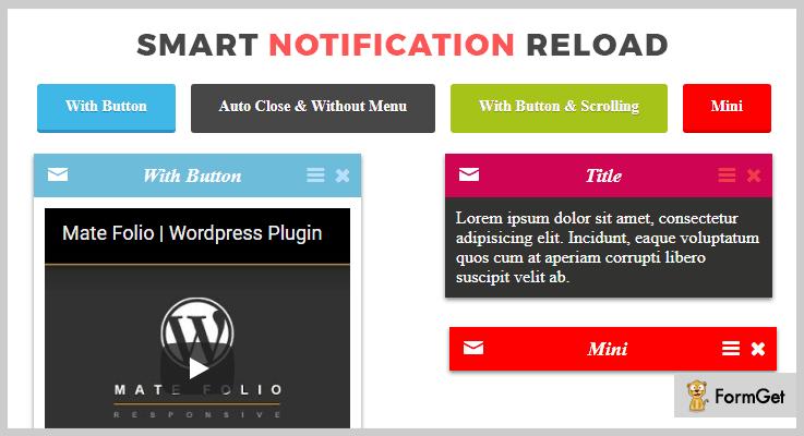 Smart Notification Reload jQuery Notification Plugins