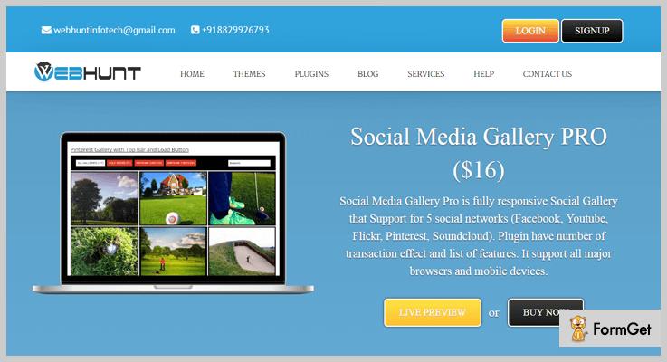 Social Media Gallery Pro Flickr WordPress Plugin