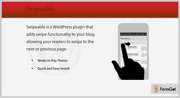 Swipeable WordPress Plugins Next Previous Page