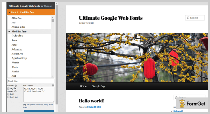 Ultimate Google WordPress Font Plugin