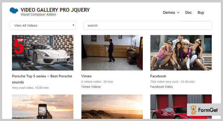 Video Gallery Pro jQuery Video Gallery Plugin