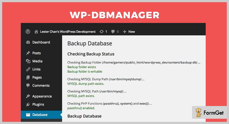 WP DBManager Database WordPress Plugin