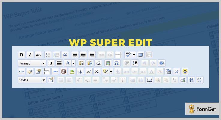 WP Super Edit Visual Editor WordPress Plugin